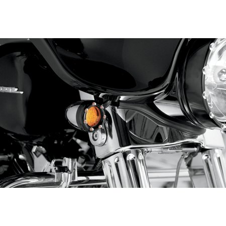 Arlen Ness LED Fire Ring Kits for Factory Deuce Style Turn Signal Housing Black trim ring w/ amber ring LEDs and amber lens  Dual Function 12-758