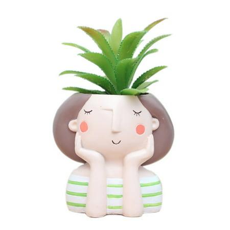 Succulent Plant Pot Cute Girl Flower Planter Flowerpot Create Design Lovely Little Princess Home Garden Bonsai -