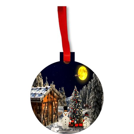 Christmas Village Scene Round Shaped Flat Hardboard Christmas Ornament Tree Decoration - Unique Modern Novelty Tree Décor Favors ()
