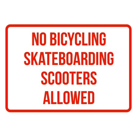 Parking Sign Aluminum Top - No Bicycling Skateboarding Scooters Allowed No Parking Business Safety Traffic Signs Red - 7.5x10.5