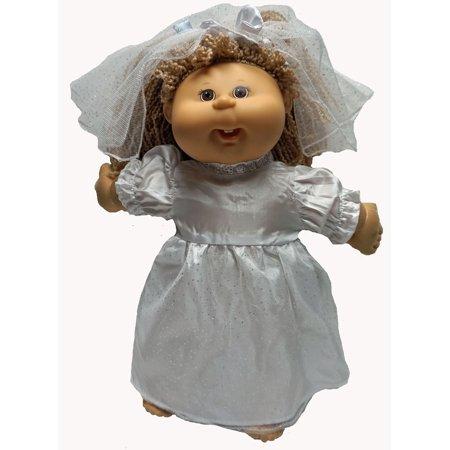 Silk Wedding Dress -Lace Skirt & Matching Veil Fits Cabbage Patch Kid Dolls ()