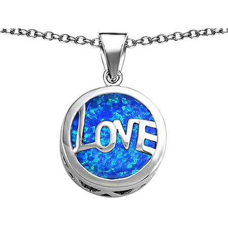 Large Round Silk Pendant - Star K Large Love Round Pendant Necklace with 15mm Round Blue Created Opal in Sterling Silver