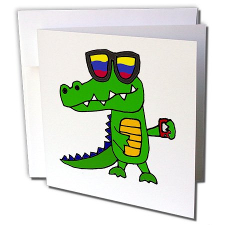3dRose Funny Cool Alligator in Sunglasses with Cell Phone - Greeting Card, 6 by - Huge Sunglasses Funny