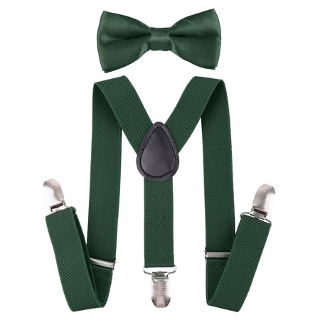 Suspenders and Pre Tied Bowtie Y Shape Suspender for Kids, Dark Green](Tie And Suspenders)