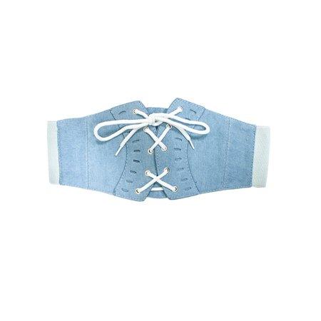 NYFASHION101 Women's Denim Lace-Up Corset Stretch Waist Belt, Light Blue Denim