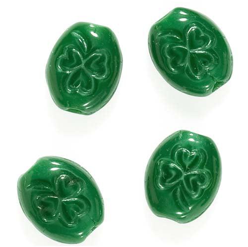 Czech Glass Oval Beads With St. Patrick's Day Green Shamrock 10mm (15)