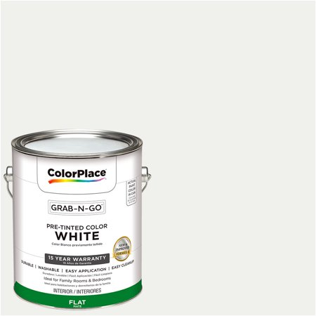 - ColorPlace Pre Mixed Ready To Use, Interior Paint, White, Flat Finish, 1 Gallon