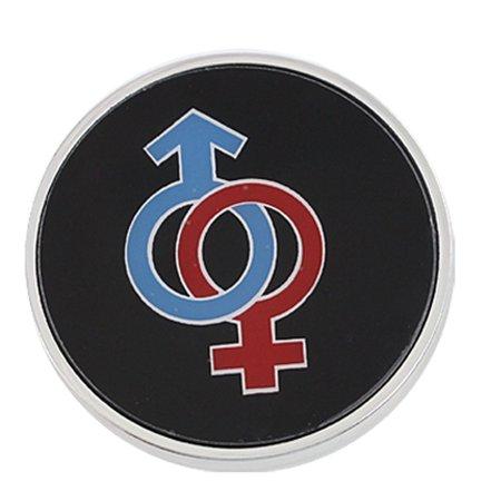 Plastic Silver Tone Trim Adhesive Round Badge for