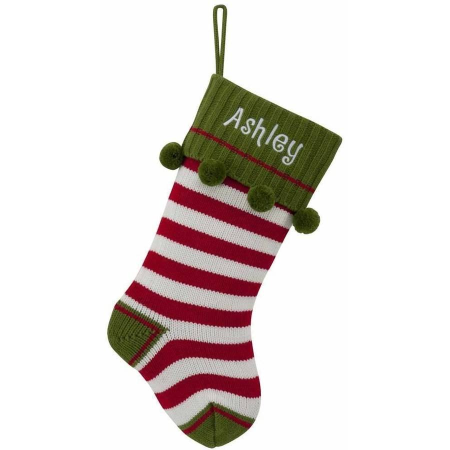 Personalized Striped Knit Christmas Stocking Available In Multiple Colors