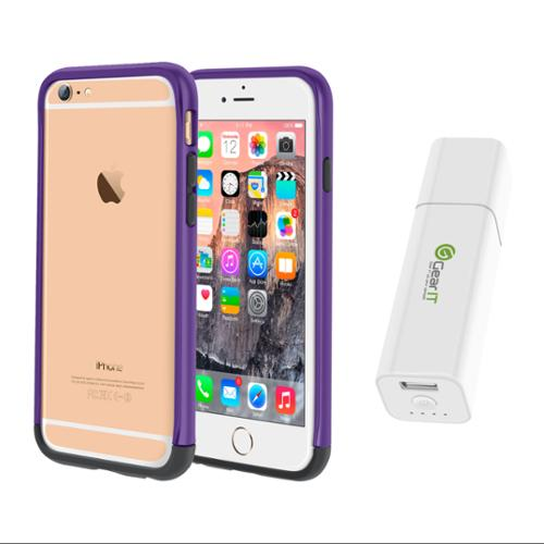 iPhone 6 Case Bundle (Case + Battery Pack), roocase iPhone 6 4.7 Strio Bumper Open Back with Corner Edge Protection Case Cover with Portable Battery Pack White for Apple iPhone 6 4.7-inch, Purple