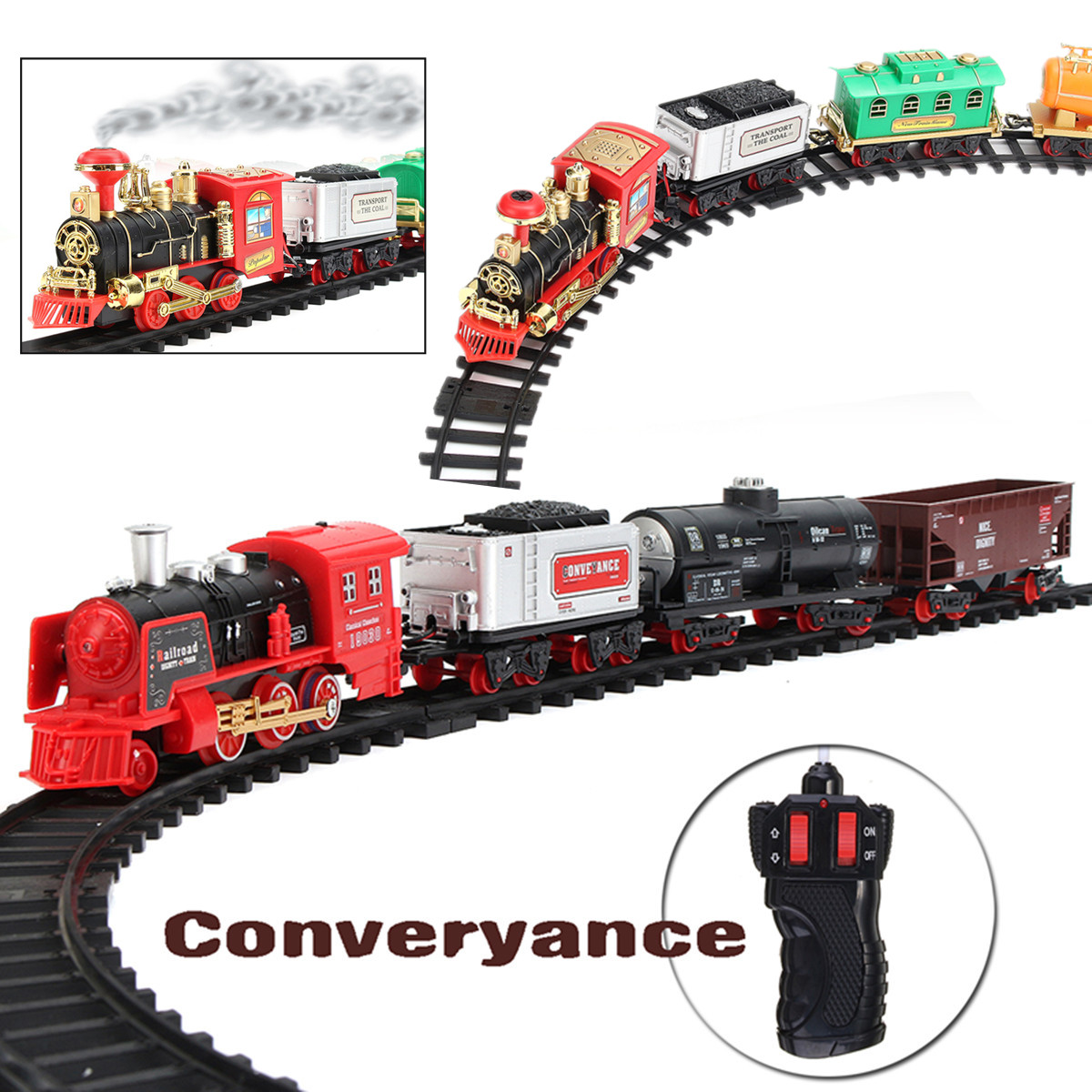 Rechargable Electric Remote Control Classic Steam Smoke Train Set Railway Car Set Train Model Toy Gift For Kids With Real Smoke, Music, and Lights