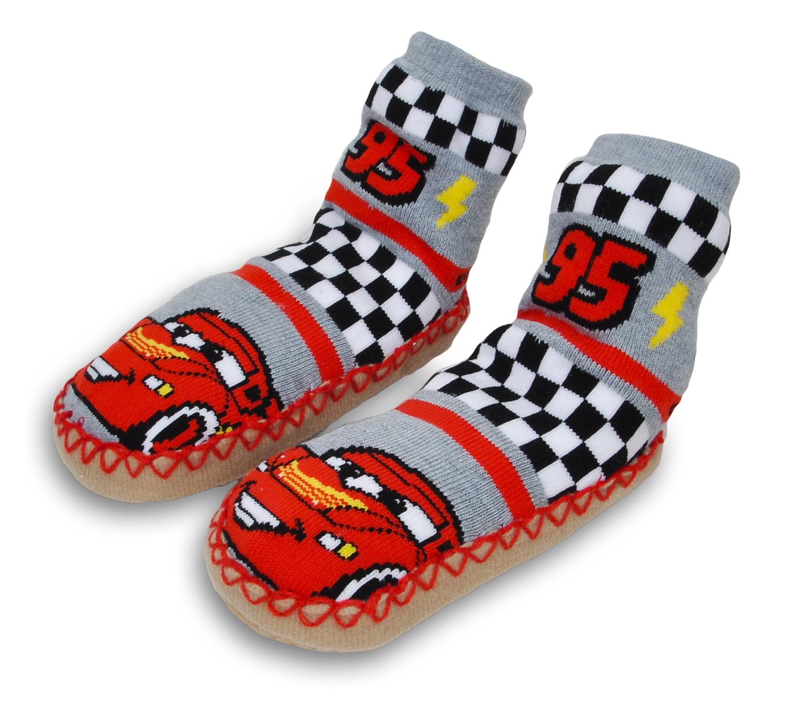 Disney Cars 3 Toddler Boys Fuzzy Slipper Socks Fits Shoe Size 8-10 Red