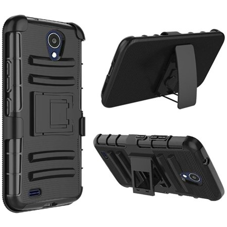 ATT AXIA (QS5509A) Case, by Insten Dual Layer Hybrid Stand PC/TPU Rubber Holster Case Cover For ATT AXIA (QS5509A) - Black