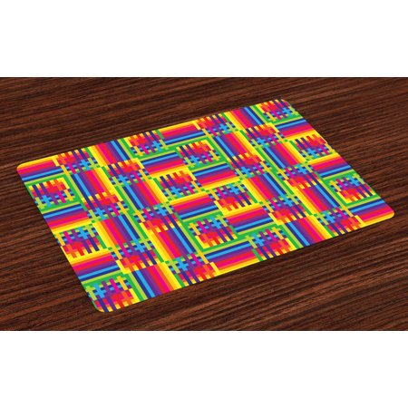 Vintage Rainbow Placemats Set Of 4 Horizontal And Vertical Short Lines Vibrant Colored Mosaic Striped Pattern