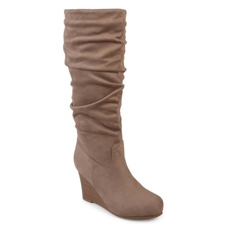 Womens Slouchy Faux Suede Mid-calf Wedge Boots - Faux Suede Wedge Boot