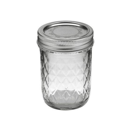 Ball Quilted Crystal Regular Mouth Half-Pint 8 Oz. Glass Mason Jars with  Lids