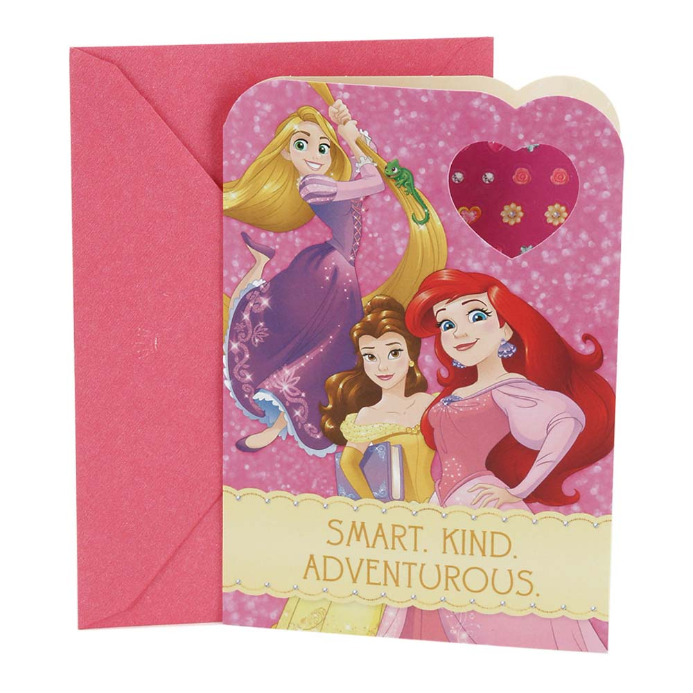 Hallmark, Disney Pricess Earring Stickers, Birthday Greeting Card, for Kids
