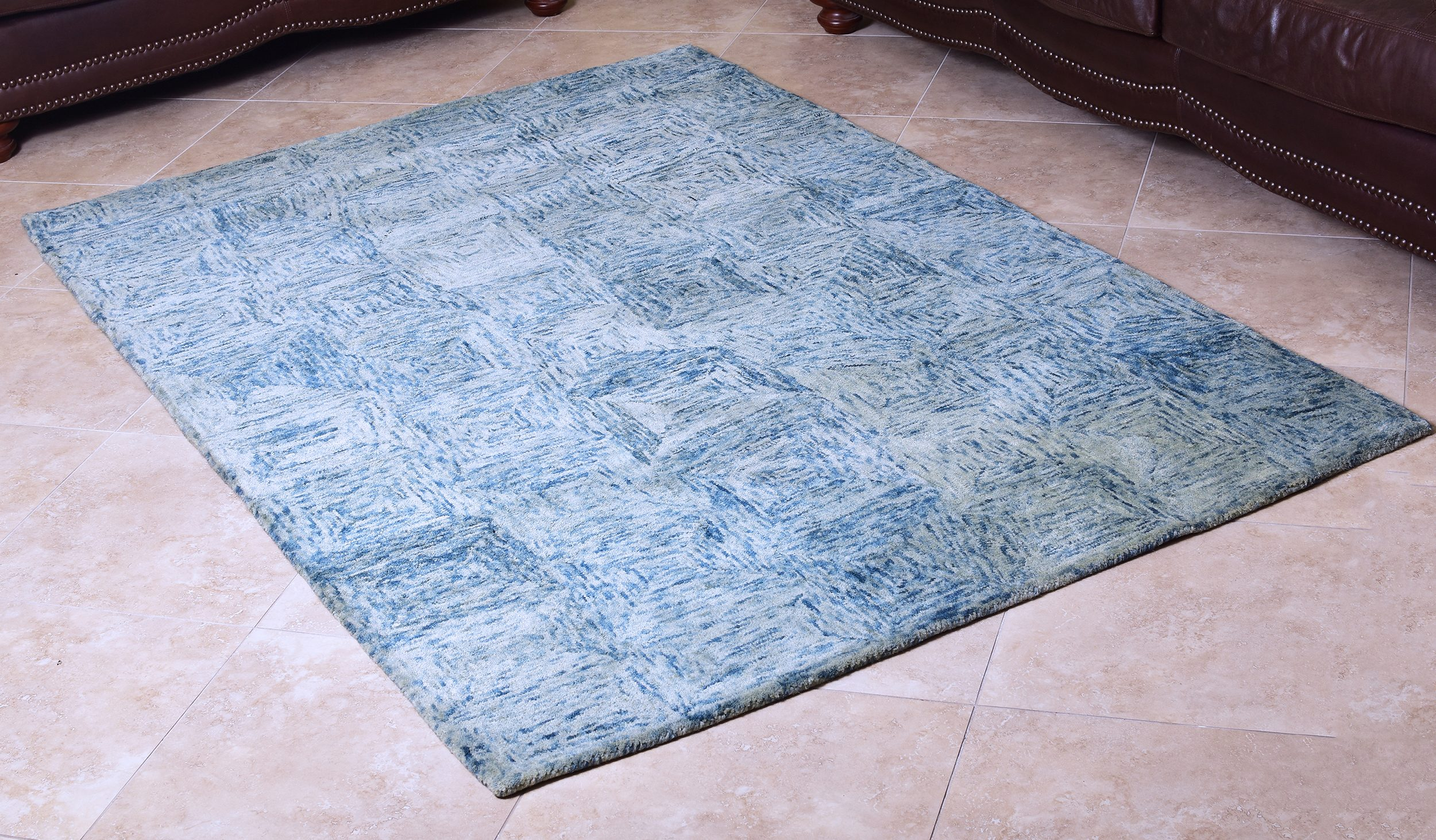 Teal Blue Woolen Hand Tufted Abstract Wool Carpet 5x8 Ft Area Rug By Mystiquedecors Bedroom Family Living Dining Room Rugs Walmart Com Walmart Com