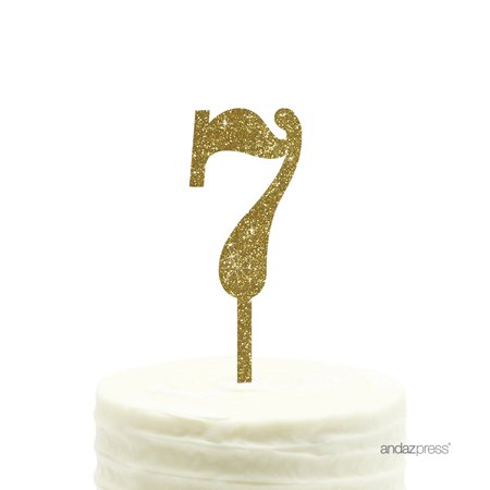Gold Glitter  Number 7 Acrylic Birthday Cake Topper