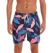 New Boys Mens Swimming Trunks Swim Shorts Board Shorts With Pockets Print Swimwear Beachwear Underwear Swimsuit Beach Pants Casual Quick Dry Bathing Suit Surfing Blue Zebra Print M