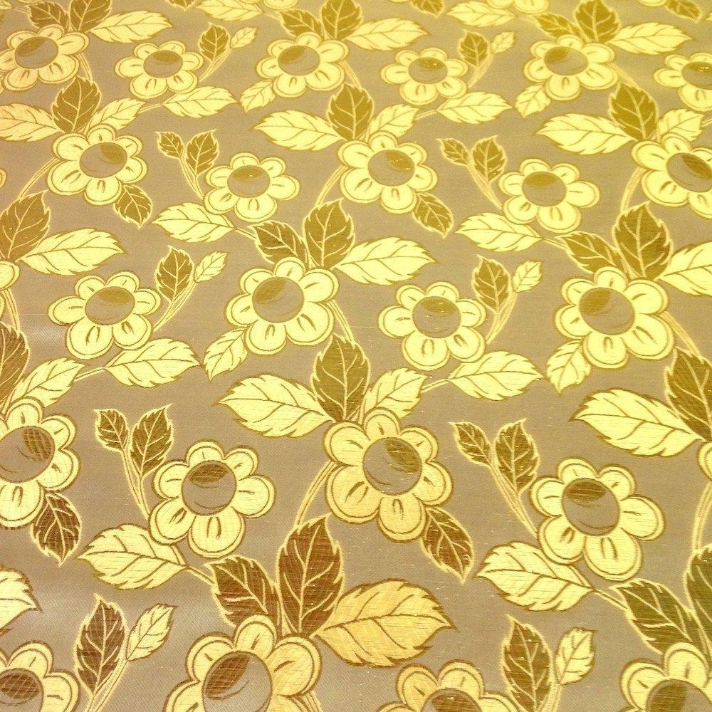 "Metallic Daisy Floral Brocade Fabric 60"" Sold By the Yard in Many Colors (Ivory / Gold)"