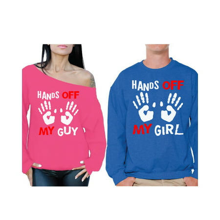 b34a58d5 Awkward Styles Boyfriend Girlfriend Couple Sweatshirts Hands Off My Guy Off  the Shoulder Sweatshirt Hands Off My Girl Sweater Matching Valentines Day  Outfit ...