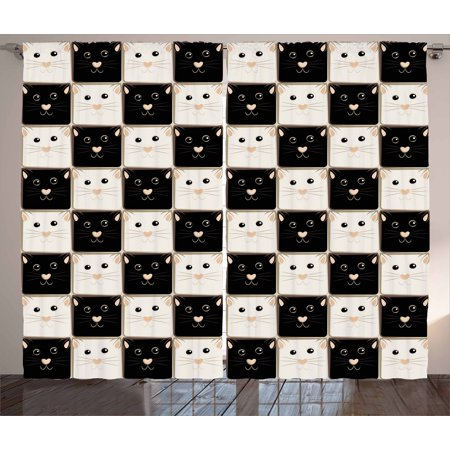 Checkers Game Curtains 2 Panels Set Checkered Squares With Cute Cat Faces In Classic Board