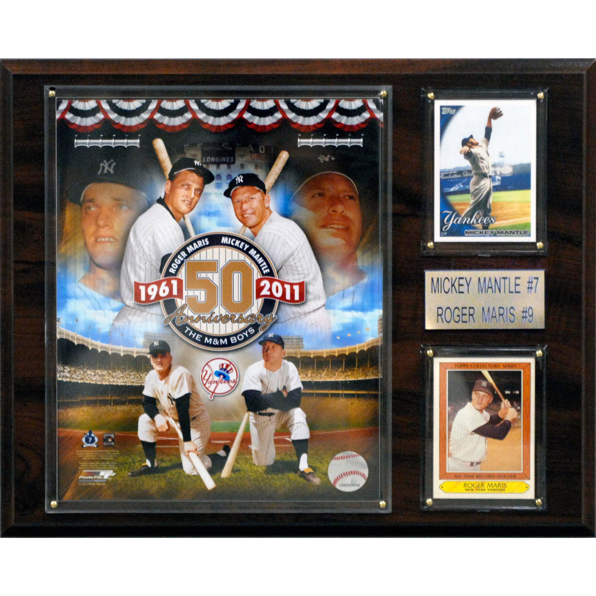 C&I Collectables MLB 12x15 Mickey Mantle-Roger Maris New York Yankees Player Plaque