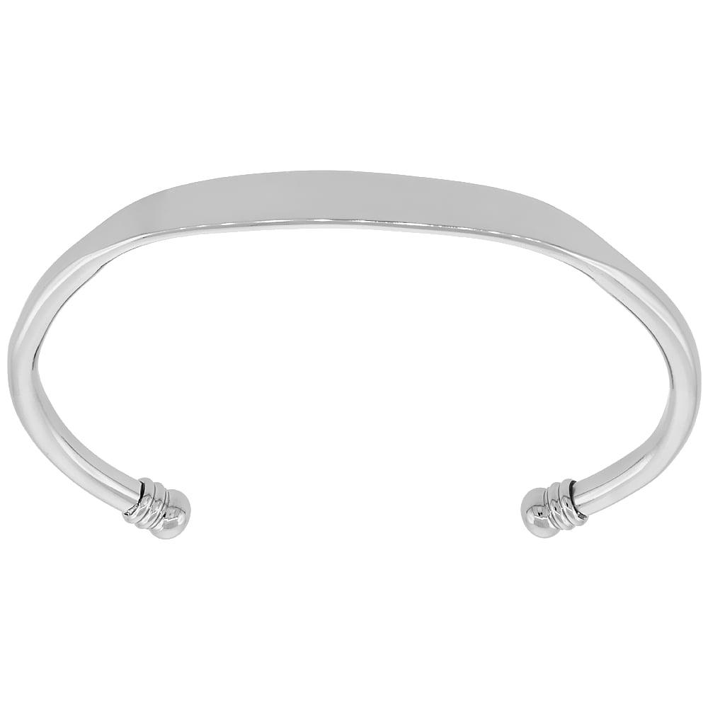 Worldjewels Stainless Steel Cuff Bracelet Flattened Center 5 Mm