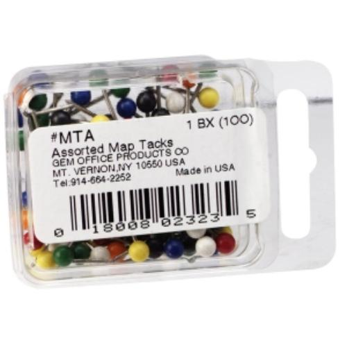 "Gem Office Products Spherical Head Maptacks - 0.37"" Length0.18"" Diameter - 100 / Box - Assorted (mta_35)"