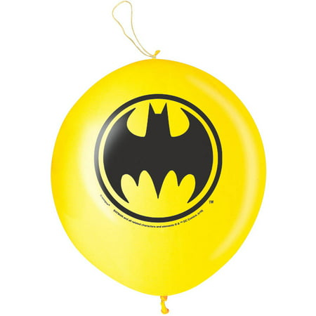 Batman Punch Ball Balloons, 16 in, Yellow, 2ct - Batman Balloon