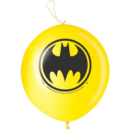 Halloween Punch Ball Balloons (Batman Punch Ball Balloons, 16 in, Yellow,)