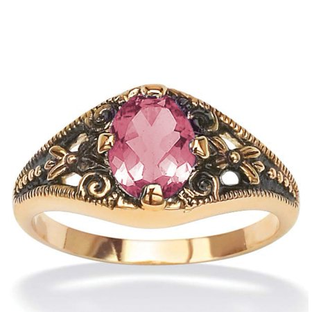Simulated Birthstone Vintage-Look Antiqued Ring, Size 5, October
