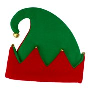 Fun World Red and Green Adult Christmas Elf Hat Accessory - One Size