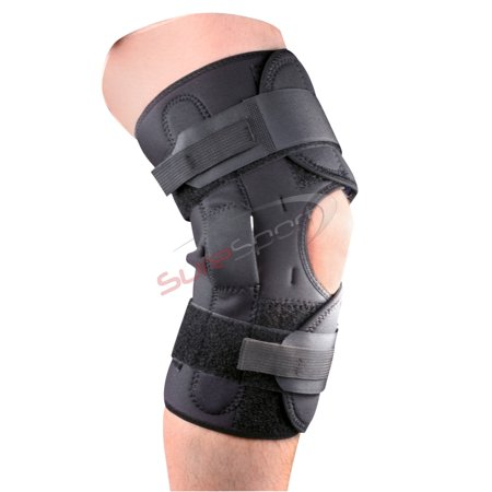 Premium Wrap Around Hinged Knee Brace with Patella Support Adjustable Action Hinged Knee Wrap