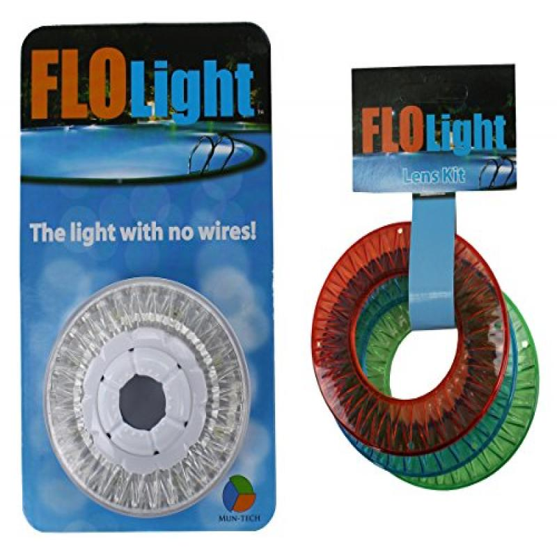 LED FLOlight Above Inground Swimming Pool Wireless Flo Light w/ Colored Lens Kit