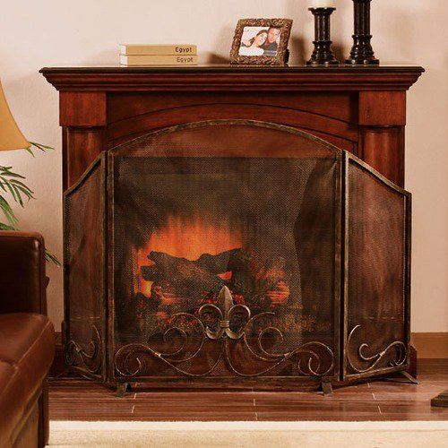 fleur de lis fireplace screen walmart