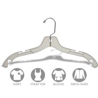 Sturdy Clear Plastic Top Hanger, Box of 100 Durable Space Saving Hangers w/ 360 degree Chrome Swivel Hook and Notches for Shirt or Dress, by International Hanger