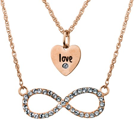 94d33f8d5 Truly Inspired - Swarovski Crystal Fine Silver Plated/14kt Rose Gold Flash  Love/Infinity Duo Necklace Set - Walmart.com