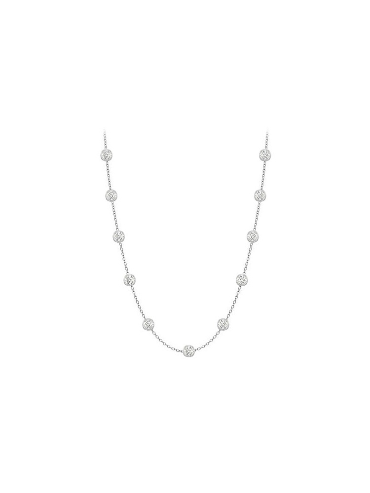 Diamonds Necklace in 14K White Gold Bezel Set 0.25 ct.tw by Love Bright