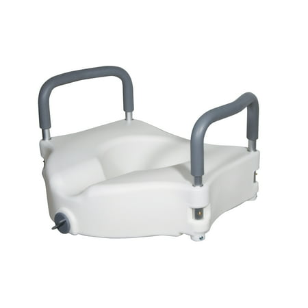 Contoured Plastic Raised Toilet Seat - Drive Medical Elevated Raised Toilet Seat with Removable Padded Arms, Standard Seat