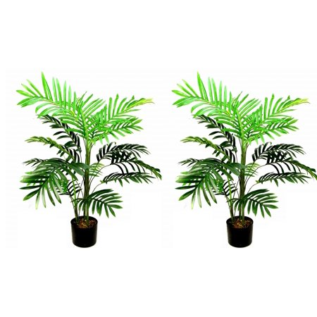 Admired By Nature 2 x 3 Feet Artificial Paradise Palm Tree Plant in Plastic Pot, Green