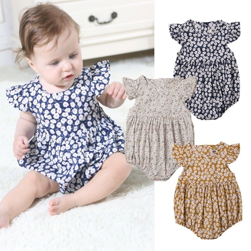 Calsunbaby Toddler Baby Girls Dress Sleeveless Striped Floral Print Romper Bodysuit Patchwork Chiffon Tulle Skirts