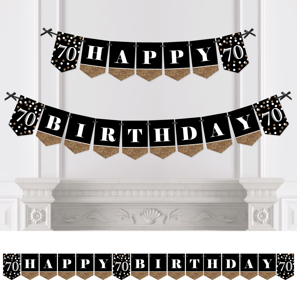 Adult 70th Birthday - Gold - Birthday Party Bunting Banner - Gold Party Decorations - Happy Birthday