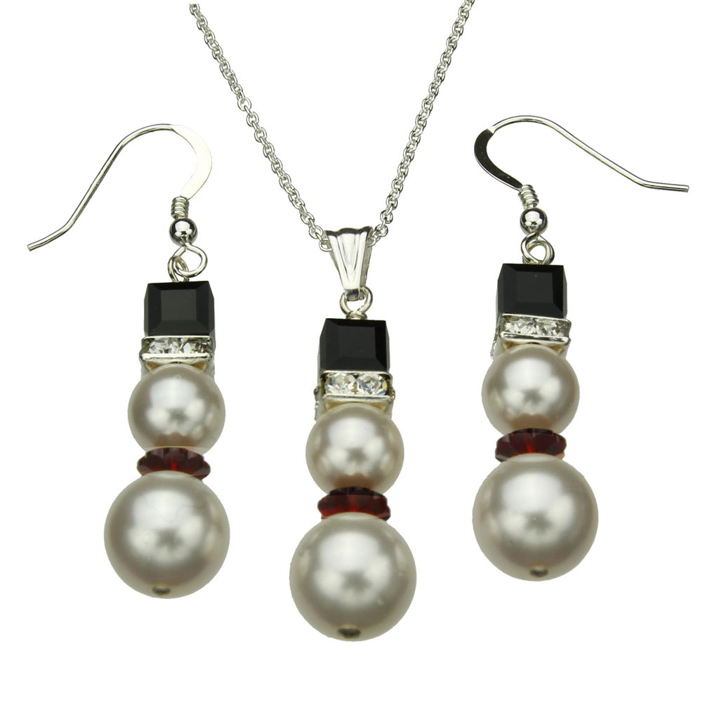 Sterling Silver Simulated Pearl Snowman Pendant Necklace Earrings Made with Swarovski Crystals 14