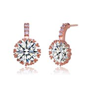 Collette Z Rose-plated Sterling Silver Cubic Zirconia Round Drop Earrings
