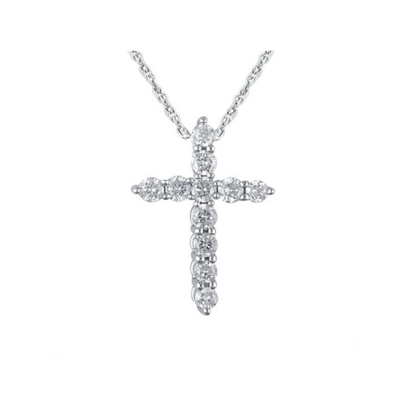 14K White Gold 1/4 Carat Total Weight Genuine Diamond Classic Cross Pendant with 18
