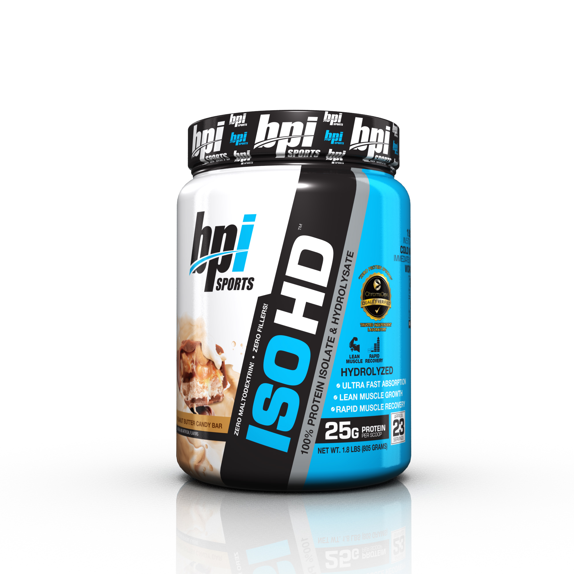 BPI Sports ISO HD Protein Powder, Peanut Butter Candy Bar, 1.6 lb
