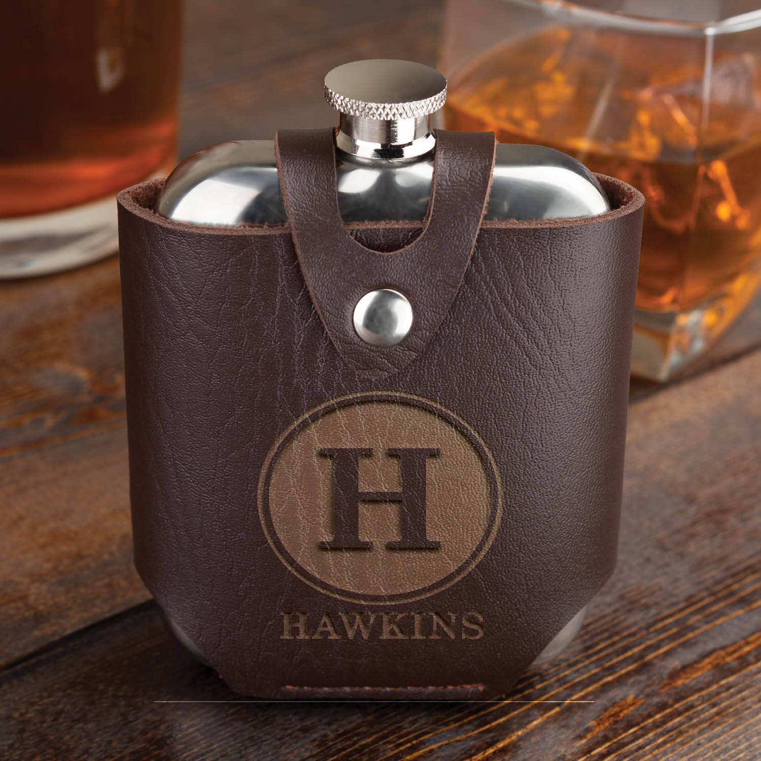 Personalized Flask and Leather Case - 3 designs to Choose From