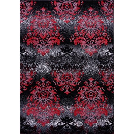 Ladole Rugs Everest Collection Milan Classic Damask Style Soft Beautiful Mat in Black and Red, 2x3(1'7